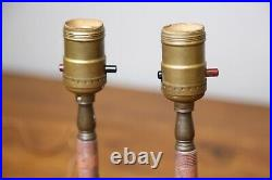 Antique Candlestick Table Lamps Pink Glass and Brass Vanity Vintage lights pair