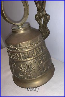 Antique Cast Brass Bell Door Knocker Wall Mounted Vocem-Meam-A Ovime-Tangit EXC