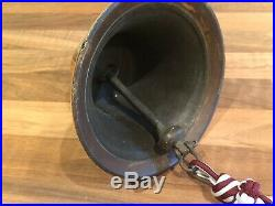 Antique Cast Brass Ships Bell & Rope Maritime Marine Boat Yacht Mancave