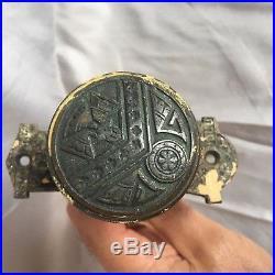Antique Cast Iron Brass COMPLETE Door Bell Old Vintage Knob Eastlake 235-17J