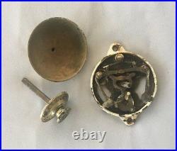 Antique Cast Iron Brass Turn knob Door Bell Old Taylors Victorian Vtg 29-19J