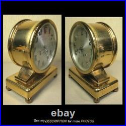 Antique Chelsea Ball and Base Brass Desk Clock Ships Bell