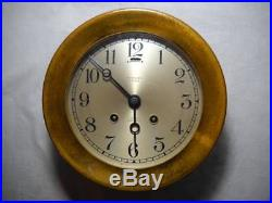 Antique Chelsea Clock Co. Brass Ships Bell Clock Circa 1915 Runs and Chimes