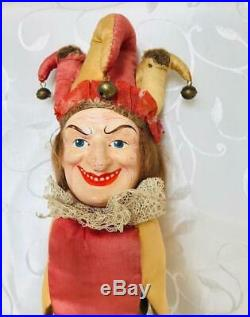 Antique Composition Head Jester Doll On Handle With Brass Bells Circa 1910