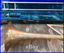 Antique Conn 44H Vocabell Rimless Bell Slide Trombone with Case