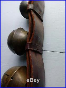 Antique Cow Bell Collar Graduated Brass Bells Leather Strap
