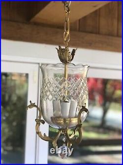 Antique Crystal Bronze Brass Bell Lantern Chandelier Hall Ceiling Fixture