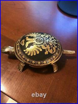 Antique Damascene BOJ EIBAR Spanish TURTLE with bell. Engraved with crest