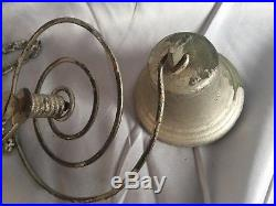 Antique Door Bell Cast Iron Brass Pull Chain Spring Country Store Vtg 237-17J