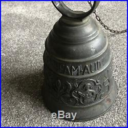 Antique Door Bell French Brass Gothic Revival Latin Inscription Hanging