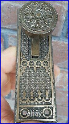 Antique Door Bell Pull Handle Reading Elaine Brass Bronze 1889 Ringer Lever Knob