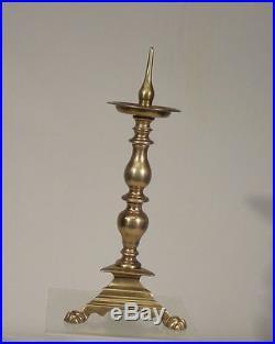 Antique Early European French Dutch Bell Metal Brass Bronze Candlestick Stick