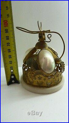 Antique Edwardian Brass And Pearl Shell Alabaster Shop Hotel Counter Service