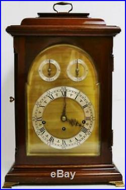 Antique English Triple Fusee Mahogany & Brass 8 Bell Musical Chime Bracket Clock