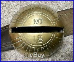 Antique Exceptional Set of 19 HUGE Brass Sleigh Petal Bells on 8ft Leather Strap