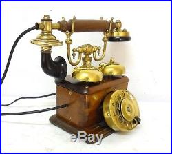Antique & Extremely Rare Ericsson Wooden Case & Brass Two Bells Telephone