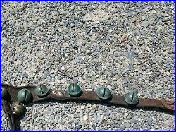 Antique Farm Fresh Equestrian Horse 32 Brass Sleigh Bells On A 6' Leather Strap