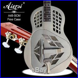 Antique Finish Bell Brass Body Tricone Resonator Guitar With Free Case and strap