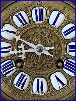 Antique French Tortoishell & Gilt Brass Ormolu Mounted Mantle Clock Bell Strike