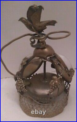 Antique French Victorian 19th Century Brass And Mother-of-pearl Hotel Bird Bell