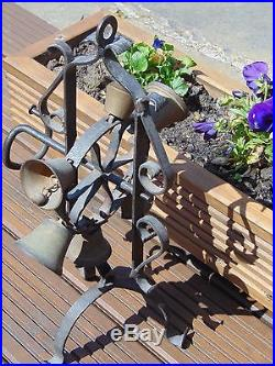 Antique French Wrought Iron & Brass Ring-o-bells Rotating Shop Counter Bell