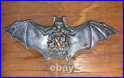 Antique Gothic Bat Electric Door Bell Button Halo Light Sterling Over Brass