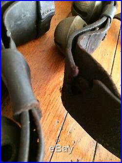 Antique Graduated Brass Sleigh Bells & Leather Strap Harness Lot