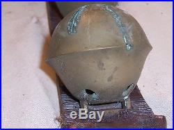Antique Graduated Large Brass Petal Sleigh Bells on Leather Strap