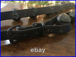 Antique Horse Graduated 14 BRASS SLEIGH JINGLE BELLS Leather Strap #5 #6 #7