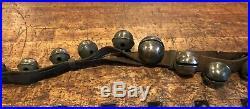 Antique Horse Sleigh Bells 23 Brass Bells 80 Long Leather Strap Vintage