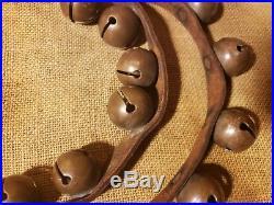 Antique Horse & Sleigh Bells 31 Brass Bells 70 Leather Strap Christmas Decor