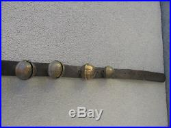 Antique Horse Sleigh Bells 88 Brass & Leather 19 Graduated Strap Old 1800s Neat