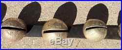 Antique Horse Sleigh Chime Bells Graduated #15 Brass Petal 65 Strap SEE VIDEO
