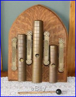 Antique J. C. DEAGAN Catholic Church Brass Hand Wall Chimes Alter Gong Bell