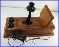 Antique KELLOGG Tiger Oak Wood Raised Panel Crank Wall Phone Brass Bells RINGS