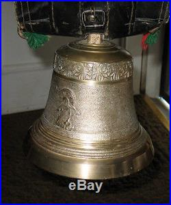 Antique Large Austrian Brass Cowbell With Collar