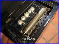 Antique Large Brass Cylinder Music Box 6 Bells Rosewood Inlaid 13