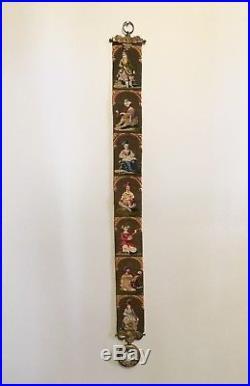 Antique Late Victorian Cross Stitch Needlepoint Bell Pull Brass Brackets