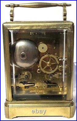 Antique Le Roy A Paris Carriage Clock 19th Century Brass Striking On A Bell