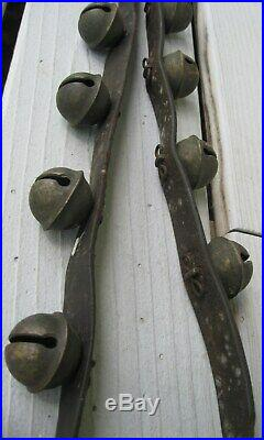 Antique Leather Strap With Buckle Of 25 Brass Sleigh Bells