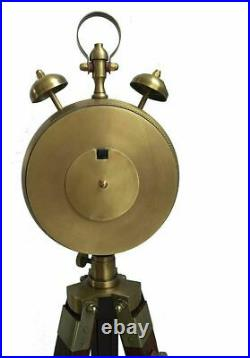 Antique Look Tripod Clock with Stand Brass and Brown Two Bell Wooden & Metal