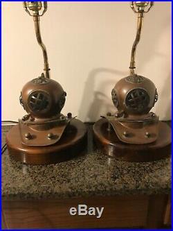 Antique Maritime Bell Helmet Brass Diving Lamps