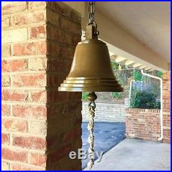Antique Maritime Solid Brass Ship Bell with Clapper & Braided Bell-Pull Lanyard