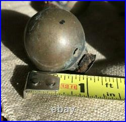 Antique Metal Brass 37 Sleigh Bells On Leather Strap 75 long