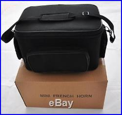 Antique MiNi French Horn Bb 3-Key Piccolo Pocket horn Engraving Bell with Case