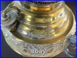 Antique Miller Oil Lamp With Green Shade Eletrified