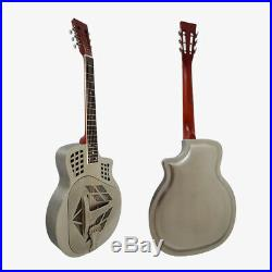 Antique Nickel Distressed Finish Tricone Bell Brass Resonator Guitar Free Case