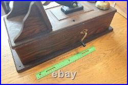 Antique Northern Electric Wooden Wall Telephone Railroad Cast Iron & brass Bells