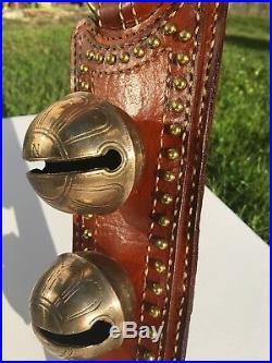 Antique Ns Brass Horse Sleigh Bells Jingle Alert Door Hanger Tan Leather Strap