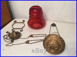 Antique Ornate Brass & Cranberry Glass Pull Down Lamp Bell Form Diamond Pattern